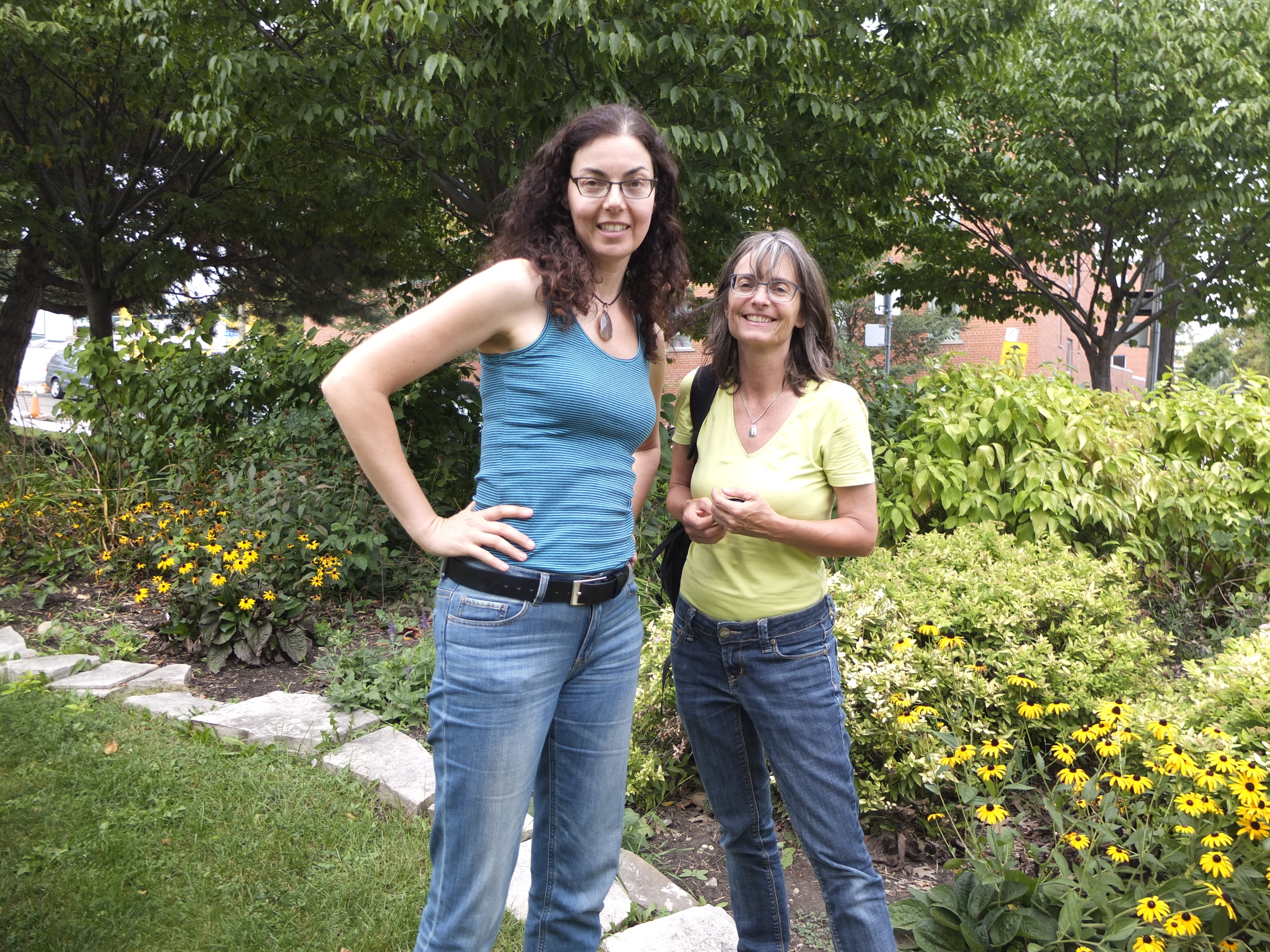 Monika Jaggi (right) with Susan Poizner in Ben Nobleman Park Community Orchard in 2015. Monika has been following the Ben Nobleman Story and writing about it in Basel, Switzerland where there is a debate about whether or not to plant fruit trees in local parks.