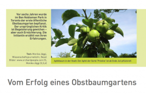 An article in a German language newspaper in Basel Switzerland explores the success of the Ben Nobleman Park Community Orchard