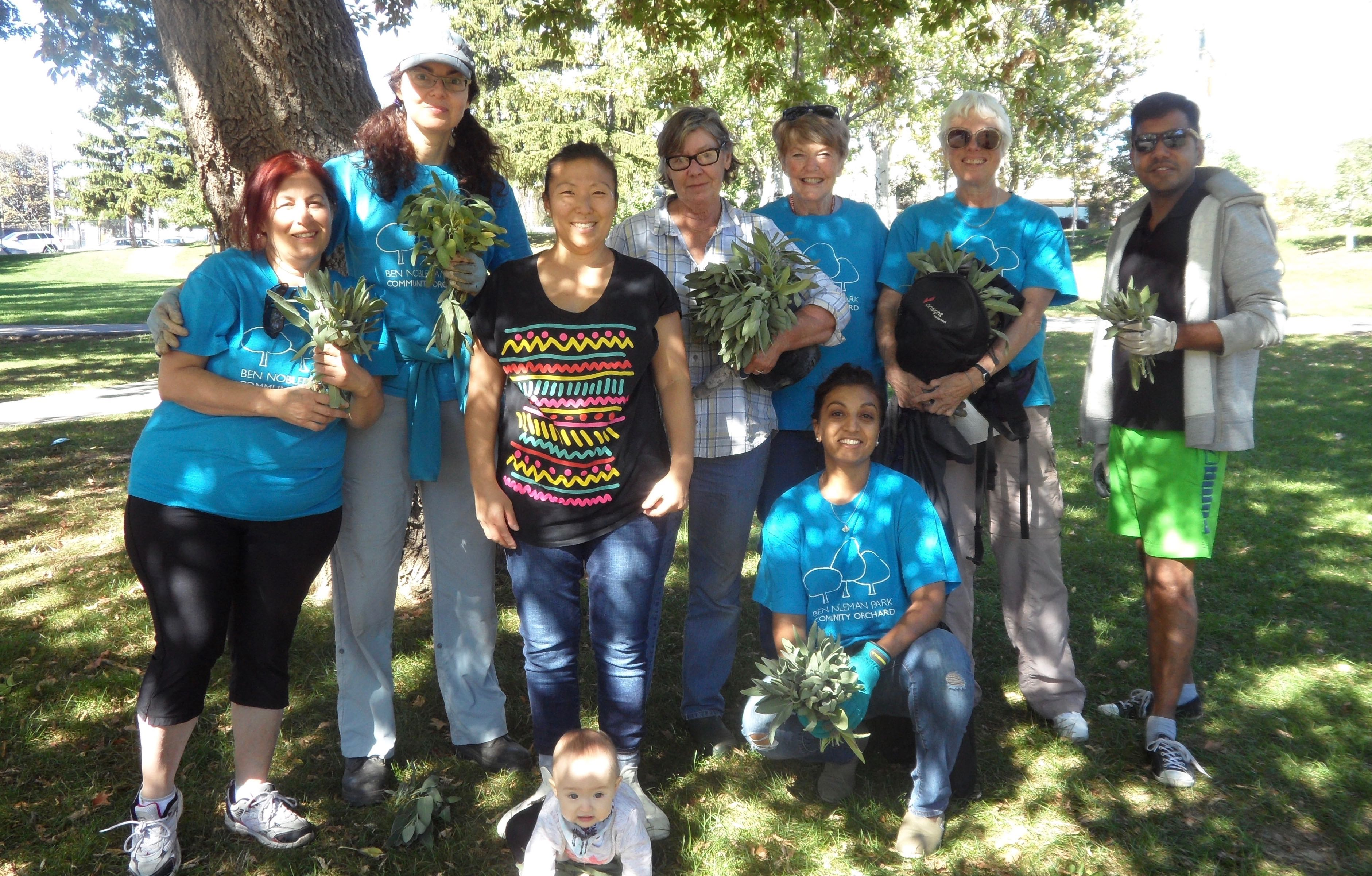 Volunteers of the Ben Nobleman Park Community Orchard show off their bouquets of sage!